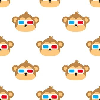 Mono con gafas ilustración de dibujos animados de patrones sin fisuras