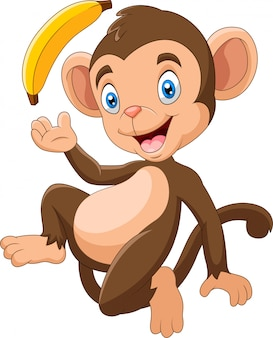 Mono gracioso de dibujos animados con plátano