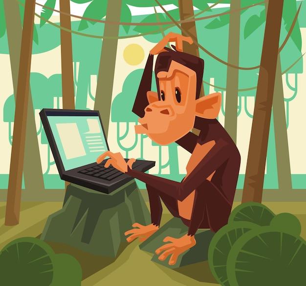 Mono con laptop, ilustración de dibujos animados plana