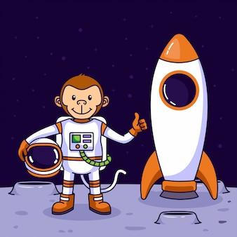Mono lindo astronauta aterrizando en la luna