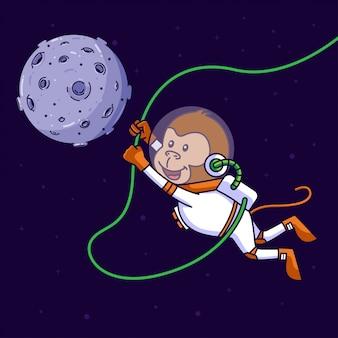 Mono lindo astronauta balanceándose en el espacio