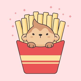 Mono lindo en caja de papas fritas