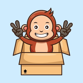 Mono lindo fuera del diseño de la caja de cartón