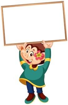 Un mono lindo que sostiene la pancarta en blanco