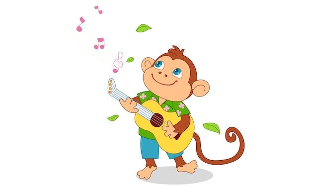 Mono lindo tocando la guitarra