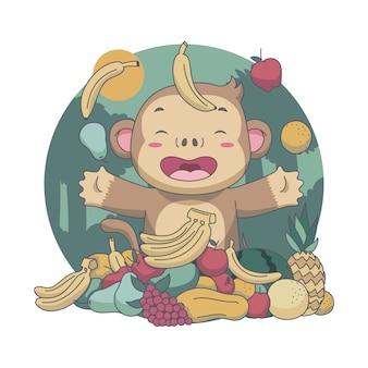 Mono lindo trow frutas