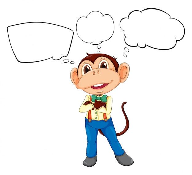 Un mono macho con rótulos en blanco