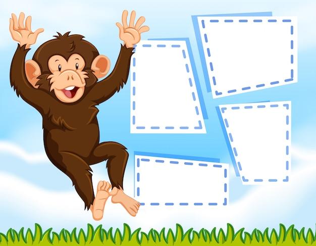 Un mono en nota en blanco.
