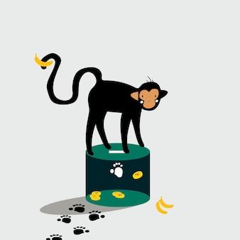 Mono parado en la caja de donaciones
