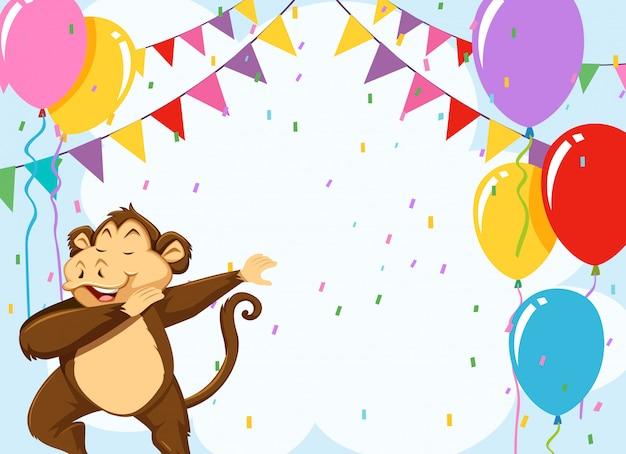 Mono en plantilla de cumpleaños