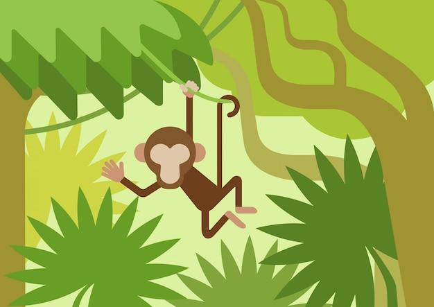 Mono en la rama de un árbol trepador, dibujos animados planos de la selva