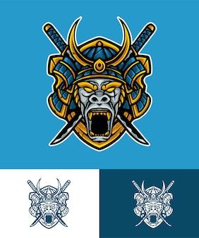 Mono samurai mascota logo illustraton