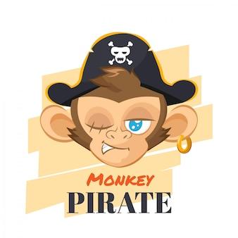 Mono con sombrero de pirata
