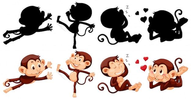 Mono con su silueta