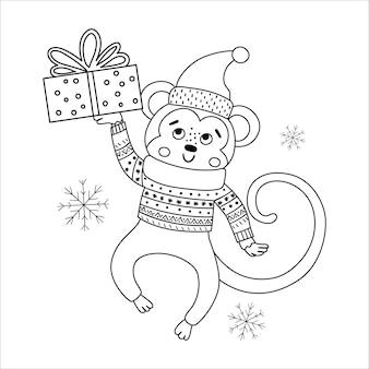Mono de vector blanco y negro con sombrero y bufanda con caja de regalo y copos de nieve. ilustración de línea de animales de invierno lindo con presente en las manos. diseño divertido de la tarjeta de navidad. plantilla de impresión de año nuevo