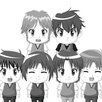 Monochrome set silhouette half body cute animado adolescentes expresiones faciales