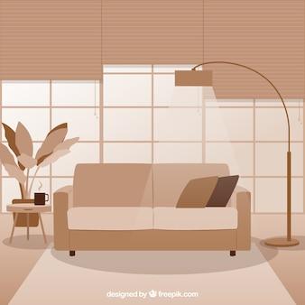 Monocromática moderna sala de estar