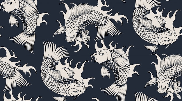 Monocromo de patrones sin fisuras con carpa koi.
