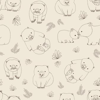 Monocromo de patrones sin fisuras con divertidos wombats y plantas dibujadas a mano con líneas de contorno en gris