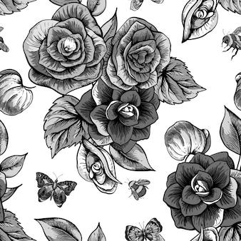 Monocromo de patrones sin fisuras con flores de begonia