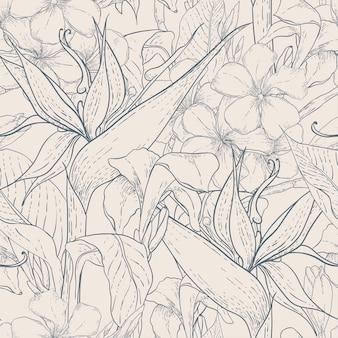 Monocromo de patrones sin fisuras con flores exóticas