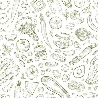 Monocromo de patrones sin fisuras con sabrosos alimentos saludables, productos ecológicos saludables, frutas frescas, bayas y verduras dibujadas a mano con líneas de contorno