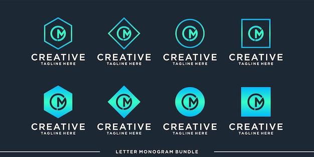 Monograma abstracto letra inicial m, plantilla de diseño de logotipo