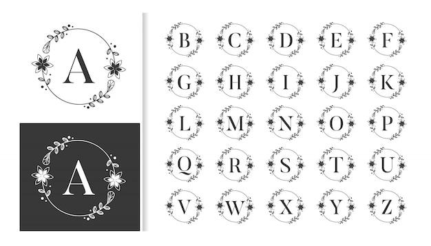 Monograma de alfabeto decorativo de lujo con marcos florales