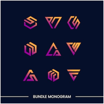 Monograma conjunto de plantillas de diseño de logotipos