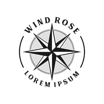 Monograma de diseño de logotipo de windrose vintage