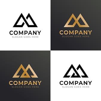 Monograma letra m combinar logo de triángulo