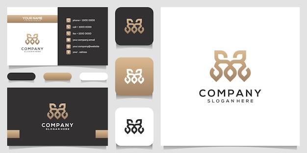 Monograma letra m con logotipo de hoja y diseño de tarjeta de visita