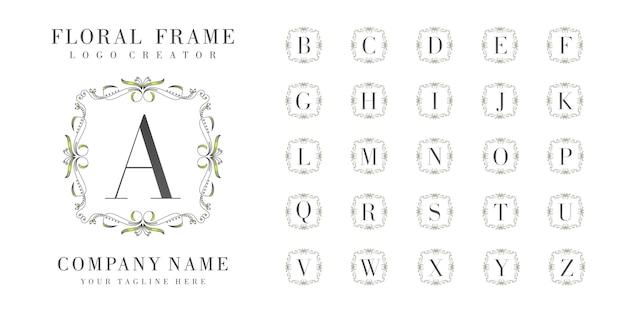 Monograma de logotipo inicial con adornos florales