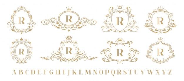 Monograma de lujo monogramas decorativos ornamentales vintage, emblema de corona de oro de lujo retro y conjunto de iconos de marco de boda heráldico barroco