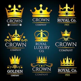 Monograma vintage de corona de lujo, conjunto de logotipos.