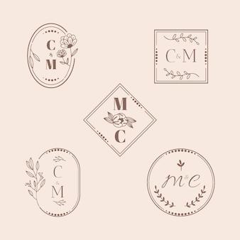 Monogramas de boda caligráficos