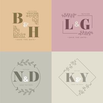 Monogramas de boda en colores pastel