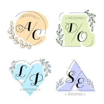Monogramas de boda coloridos