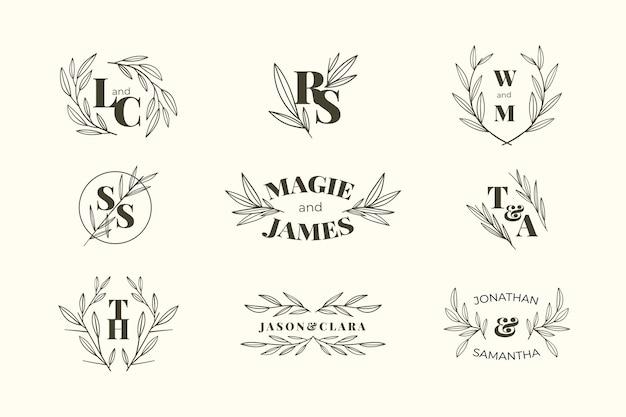 Monogramas de boda de diseño floral
