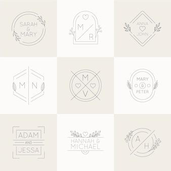 Monogramas de boda de diseño plano lineal.