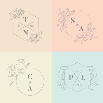 Monogramas de boda minimalistas en colores pastel.