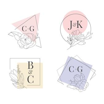 Monogramas de boda minimalistas coloridos en colores pastel