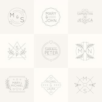Monogramas de boda planos lineales