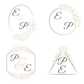 Monogramas florales de lujo para bodas