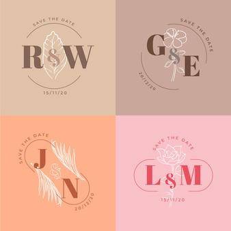 Monogramas minimalistas en colores pastel.