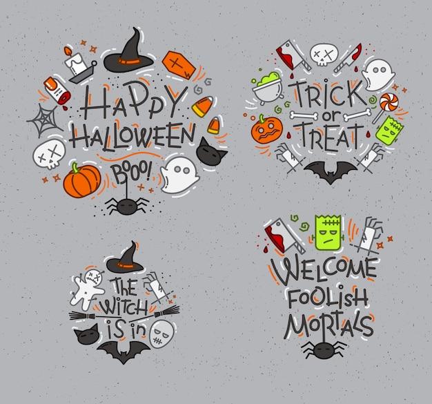 Monogramas planos de halloween grises