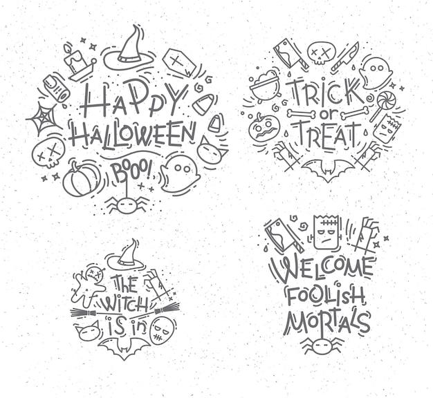 Monogramas planos de halloween