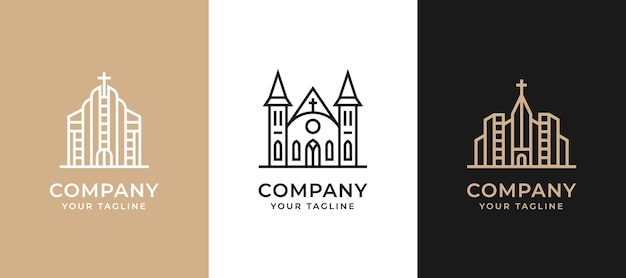 Monoline building real estate logo set collection
