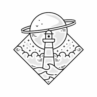 Monoline sea lighthouse planet diseño de insignia al aire libre vintage vector premium