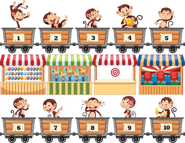Monos felices montando en los carros con números